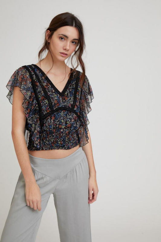 CROP TOP ESTAMPADO FLORAL ONIX S